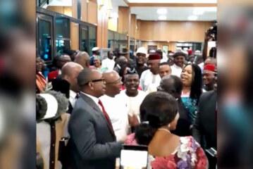 VIDEO: PDP Senators celebrate APC Lawmaker's Defection