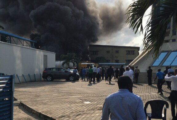 BREAKING: Diesel tanker explosion causes fire outbreak around EcoBank Head Office in Victoria Island (PHOTO)