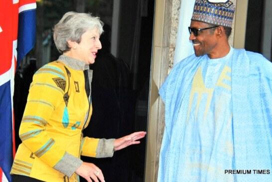 Buhari receives Theresa May at Presidential Villa