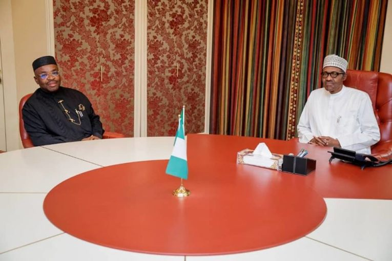 Photo of Governor Udom Emmanuel of Akwa Ibom State meeting with President Muhammadu Buhari.