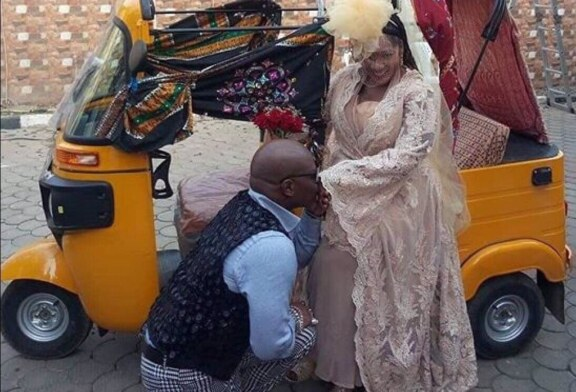Drama As Charly Boy Remarries…Uses 'Keke Napep' As Couples' Vehicle