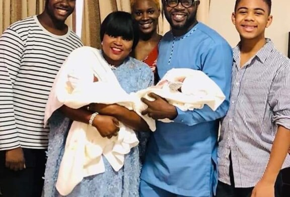 Actress Funke Akindele, Husband Share First Photo Of Their Twins