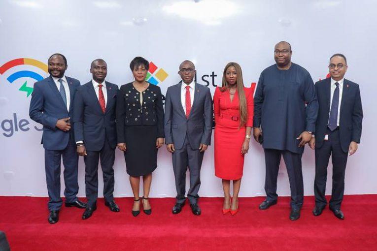 L-R: Group Head, Corporate Bank, United Bank for Africa (UBA) Plc, Akinyemi Muyiwa; Group Head, Online Digital Banking, UBA Plc, Austine Abolusoro; Country Director, Google Nigeria, Juliet Ehimuan-Chiazor; Executive Director/ Group COO, UBA Plc,  Chukwuma Nweke; Group Head, Marketing, UBA Plc,  Dupe Olusola; Head, NBU Partnerships SSA, Google Nigeria, Saidu Abdullahi; and Group Executive, Digital & Consumer Banking,  UBA Plc, Anant Rao,  at the launch of  Google Station.