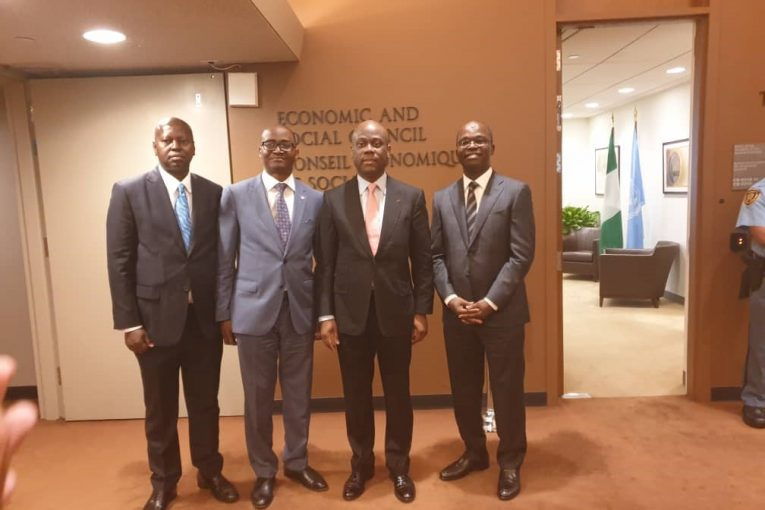 From Left to Right  Yemi Odusanya, MD/CEO Keystone Bank; Ademola Adebise, MD/CEO Wema Bank; Herbert Wigwe, GMD/CEO Access Bank and Tokunbo Abiru, MD/CEO Polaris Bank,  at the Launch of the Global Principles for Responsible Banking at the United Nations General Assembly, New York.