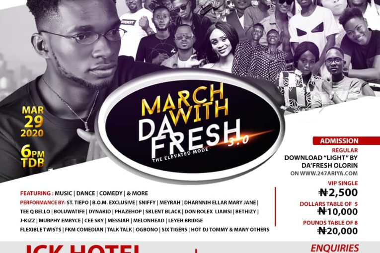 The 3rd edition of the annual neighbourhood live-in-concert by rising music sensation Da'Fresh Olorin is set to hold in grand style as notable entertainment practitioners within Ikorodu division and environs are set to grace the concert tagged March With Da'Fresh which is fast gaining momentum and winning the interest of lovers of social life within the division.
